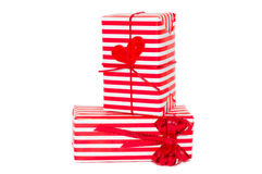 Red-white gift boxes with bow and heart Stock Photo