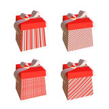 Red and white gift boxes with bows Royalty Free Stock Photos