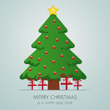 Red white gift boxes christmas tree. Red white gift boxes merry christmas tree stock illustration