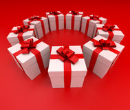 Red and white gift boxes circle lateral Stock Image