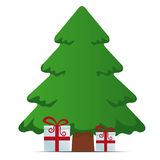 Red white gift boxes merry christmas. Red white gift boxes tree merry christmas stock illustration