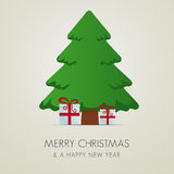 Red white gift boxes merry christmas. Red white gift boxes tree merry christmas vector illustration
