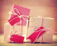 Red and White Gift boxes Stock Image