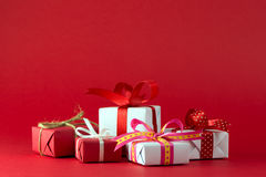 Red and white gift boxes Royalty Free Stock Photos