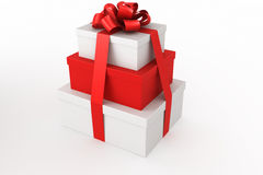Red and white giftboxes stacked Stock Photos