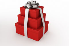 Red and white giftboxes stacked Royalty Free Stock Images