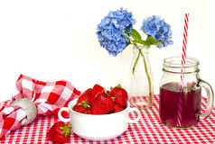 Red and White Gingham Mat, Strawberries Stock Image
