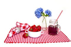 Red and White Gingham Mat, Strawberries Stock Photo