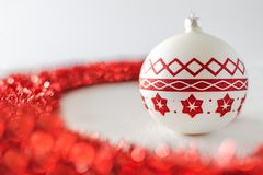 Christmas decorations and red ribbon stock photos