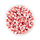 Red and White Glass Seed Beads Royalty Free Stock Photo