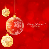 Red  and white glossy Christmas balls Royalty Free Stock Photo