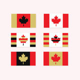 Red, white, and golden Canadian flags set Royalty Free Stock Photos