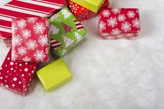 Red, White and Green Christmas presents stock image