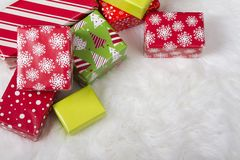 Red, White and Green Christmas presents royalty free stock photo