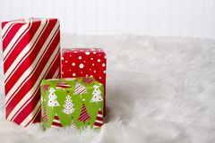 Red, White and Green Christmas presents royalty free stock photos