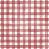 Red and white plaid background. Red and white grunge gingham plaid ripply abstract geometric seamless pattern background. Hand drawn seamless texture. Wallpaper Royalty Free Stock Image