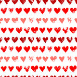 Red on white grunge hearts print seamless pattern, vector. Background Stock Photos