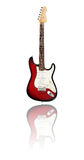 Red and white guitar. Illustration of a red and white electric guitar with reflection.  White background Stock Photos