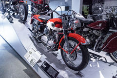 Red and white 1958 Harley-Davidson XLH Sportster motorcycle Royalty Free Stock Photos