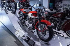 Red and white 1958 Harley-Davidson XLH Sportster motorcycle Stock Photo