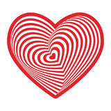 Red white heart on white background. Optical illusion of 3D three-dimensional volume. Vector Stock Photos