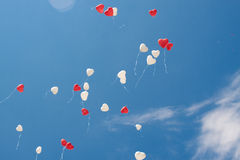 Red and white heart ballons Royalty Free Stock Image