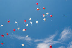 Red and white heart ballons Royalty Free Stock Photos
