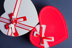 Red and white heart gift boxes Stock Images