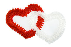 Red and white heart isolated. On white stock image