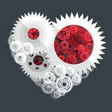 Red and white heart paper cut gear flat illustration. Consists of different types of gears and cogs royalty free illustration