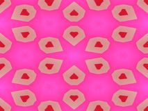 Red white heart on pink backgrounds. And geometric figures stock illustration