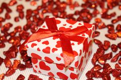 Red and White Heart Print Box Royalty Free Stock Photos