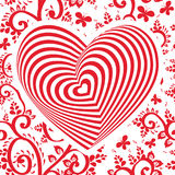 Red white heart on red floral ornament background. Optical illusion of 3D three-dimensional volume. Vector Stock Images