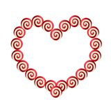 Red and white heart shaped frame made of lolipops. With space for text for Valentine`s Day or wedding design. Vector illustration, border, love tempate, isoated Stock Image