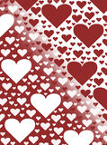 Red and white heart valentines day card background illustration gradient design. Multiple red and white heart valentines day card background illustration Stock Image