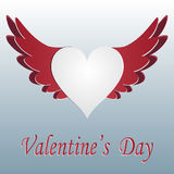 Red and white heart with wings cut on gradent background. Greeting inscription Valentine s Day. illustration Royalty Free Stock Images