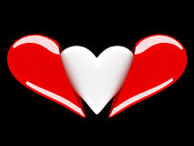 Red and white hearts Stock Images