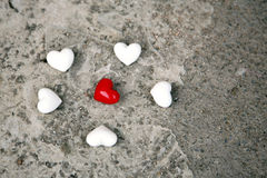 Red and white hearts Stock Photography