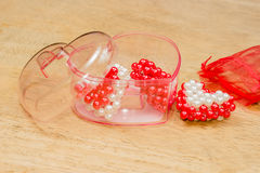 Red,white hearts in box,Valentine hearts Stock Images