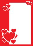 Red and white hearts, decorative border Stock Image