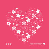 Red and white hearts and flowers greeting card Royalty Free Stock Photography
