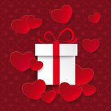 Red White Hearts Gift Ornaments Stock Images