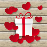 Red White Hearts Gift Wood Royalty Free Stock Images