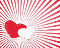 Red and white hearts with rays Royalty Free Stock Images