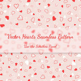 Red and white hearts seamless pattern valentines texture Stock Images