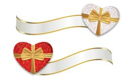 Red and white hearts shaped boxes with ribbons and golden bows. Decoration for Valentine`s day and other holidays. Vector. Illustration vector illustration