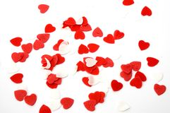 Red white hearts valentine for bath or shower. Soap hearts for bath or shower valentine's day Royalty Free Stock Photography