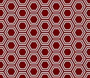 Red and White Hexagon Tile Pattern Repeat Background Stock Image