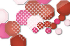 Red and white hexgon overlape, abstract background Stock Image
