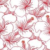 Red and White Hibiscus Seamless Pattern. Hawaiian Aloha Shirt Background. Stock Photo